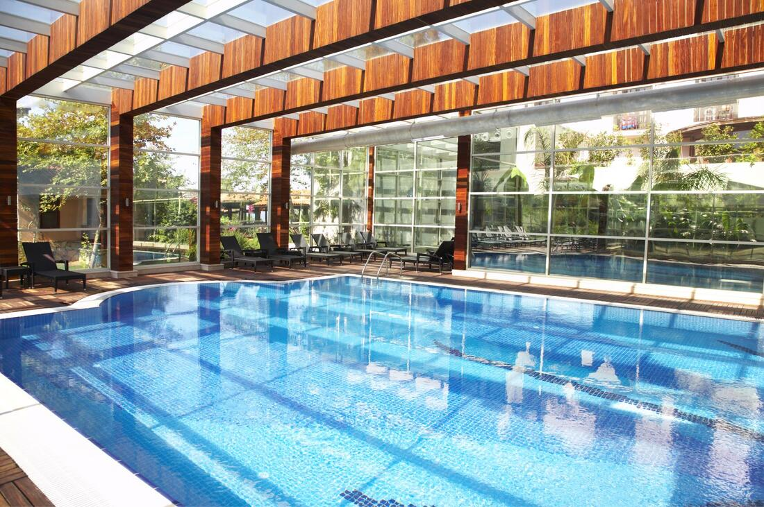 covered commercial wide pool with